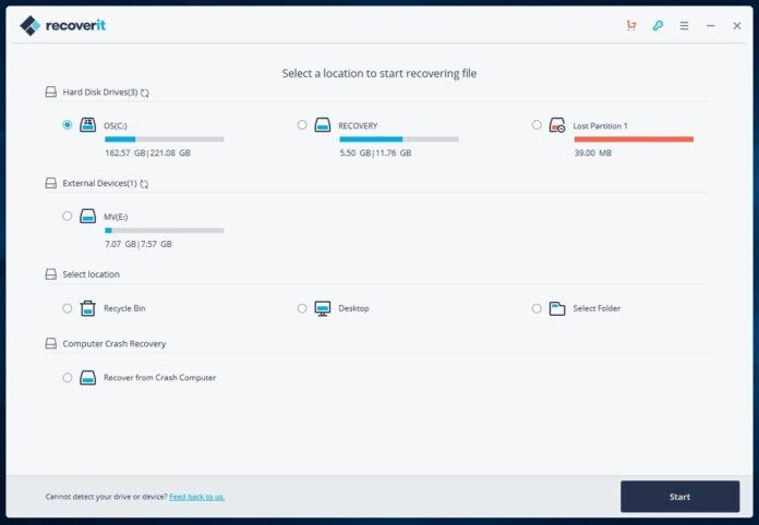 Come recuperare file cancellati con Wondershare Recoverit